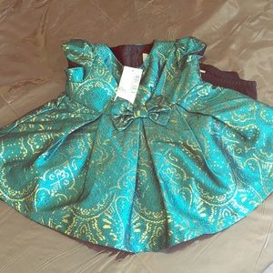 BNWT gorgeous emerald & gold dress
